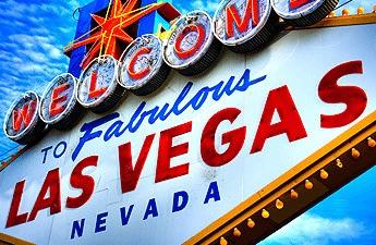 The famous Las Vegas sign under a blue sky
