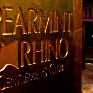 Placard inside Spearmint Rhino