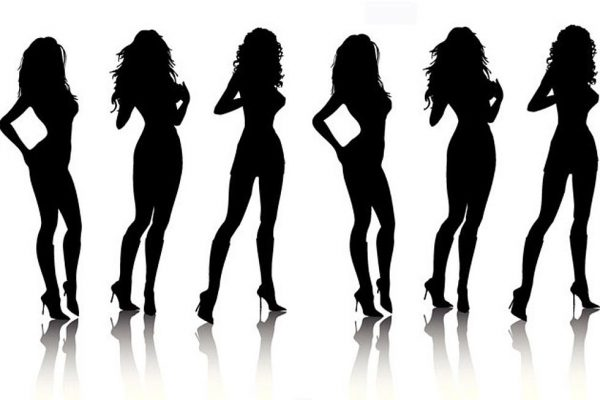 Hot strippers in silhouette