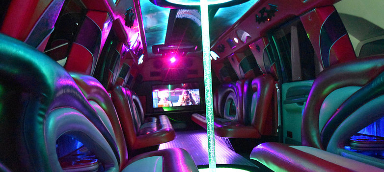 The swanky interior of INSANE super limo