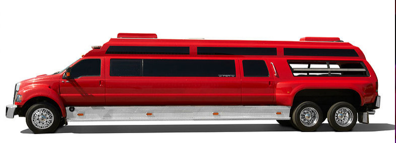 INFERNO mega limo with a bright red theme