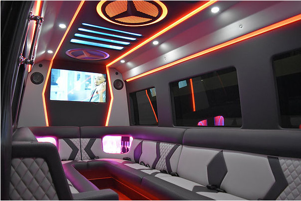 Plush interior of the TROUBLEMAKER Mercedes Sprinter party bus with seating for up to 14 passengers