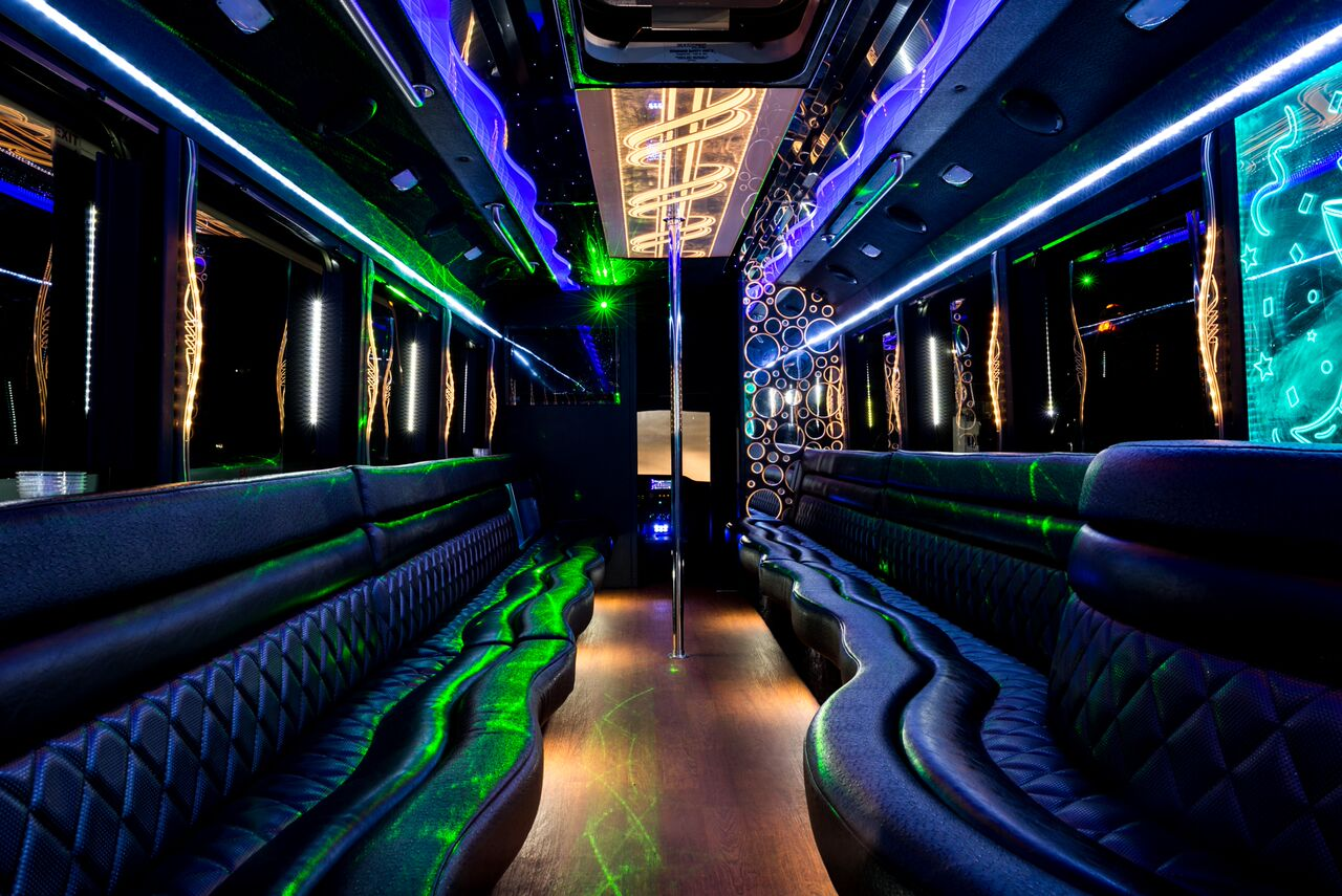 40 passenger coach style party bus with removable dancer pole