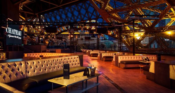 Chateau is a beautiful rooftop nightclub under the Eiffel towe at Paris Hotel in Las Vegas