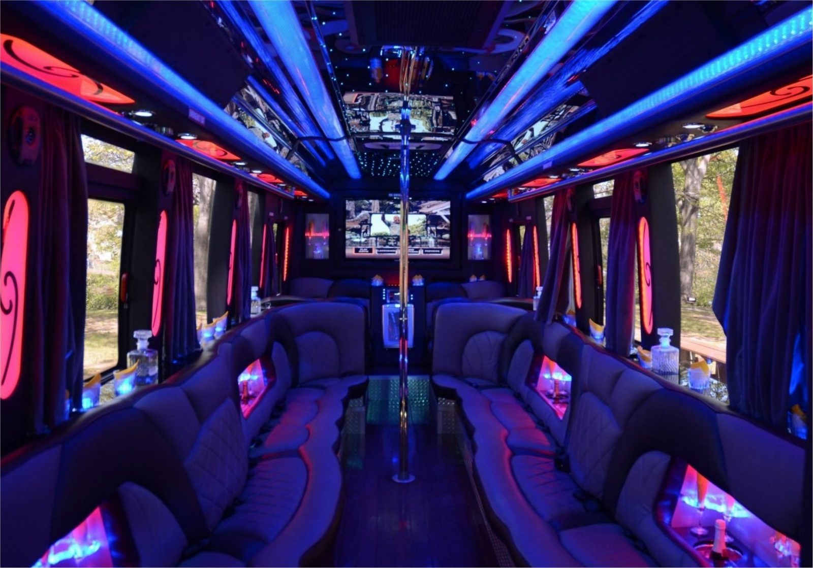 Interior of Double Down party bus with pole