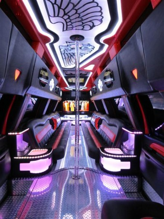 Interior of Big Red mega limo with pole