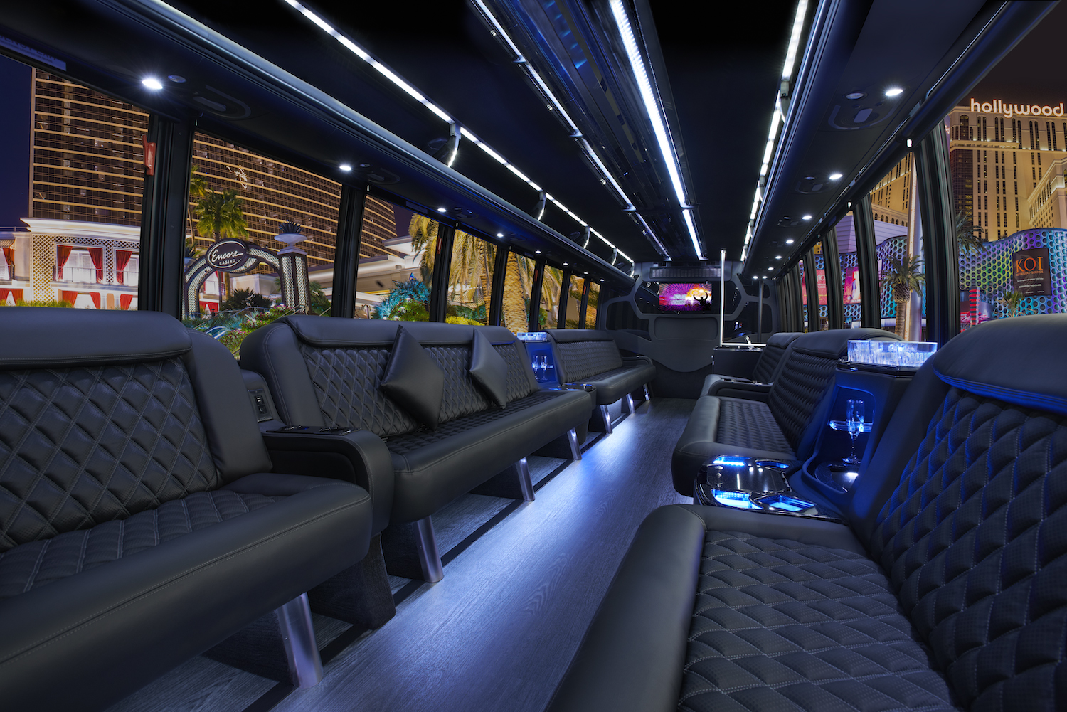 Inside the 40 person party bus with restroom