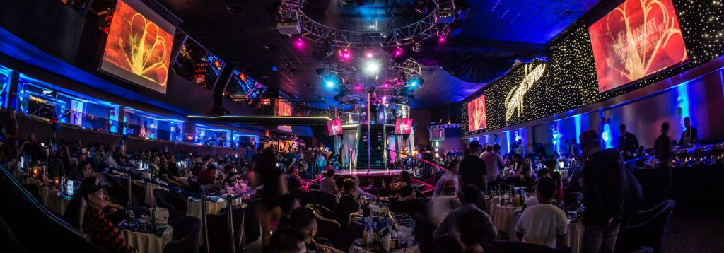 Multiple large HD screens for sports and events at Sapphire Gentlemen's Club