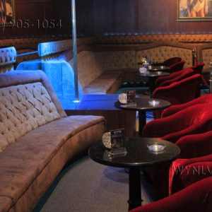 Luxry booths line the walls at Scores Gentlemen's Club in Las Vegas