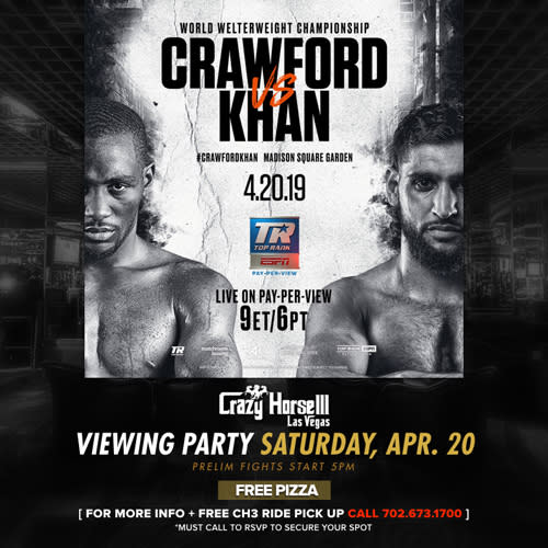 Crawford vs Khan World Welterweight Championship Fight Viewing Party