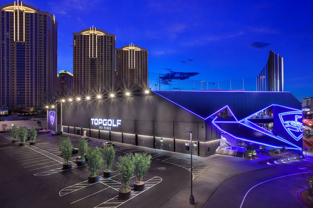 Topgolf Las Vegas Exterior at Night