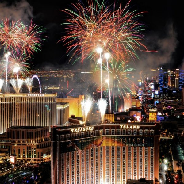 Fireworks on Las Vegas Boulevard during New Years Eve celebrations